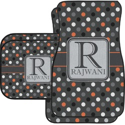 Gray Dots Car Floor Mats Set - 2 Front & 2 Back (Personalized)