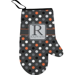 Gray Dots Right Oven Mitt (Personalized)