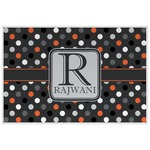 Gray Dots Laminated Placemat w/ Name and Initial