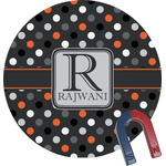 Gray Dots Round Fridge Magnet (Personalized)