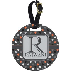Gray Dots Round Luggage Tag (Personalized)