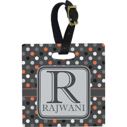 Gray Dots Square Luggage Tag (Personalized)