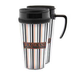 Gray Stripes Acrylic Travel Mugs (Personalized)