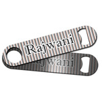 Gray Stripes Bar Bottle Opener w/ Name or Text