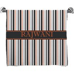 Gray Stripes Full Print Bath Towel (Personalized)