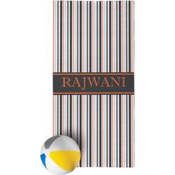 Gray Stripes Beach Towel (Personalized)