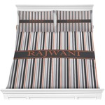 Gray Stripes Comforter Set (Personalized)