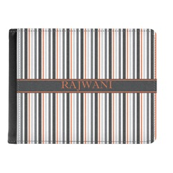 Gray Stripes Genuine Leather Men's Bi-fold Wallet (Personalized)