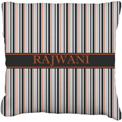 """Gray Stripes Faux-Linen Throw Pillow 26"""" (Personalized)"""
