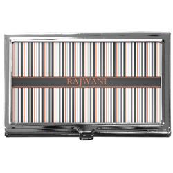 Gray Stripes Business Card Holder