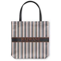Gray Stripes Canvas Tote Bag (Personalized)