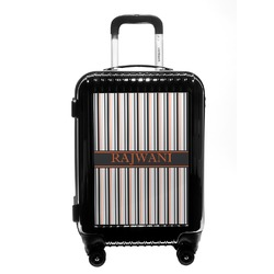 Gray Stripes Carry On Hard Shell Suitcase (Personalized)