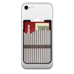Gray Stripes Cell Phone Credit Card Holder (Personalized)