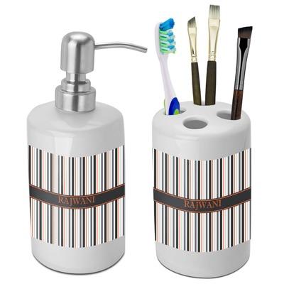 Gray stripes bathroom accessories set ceramic for Gray bathroom accessories set