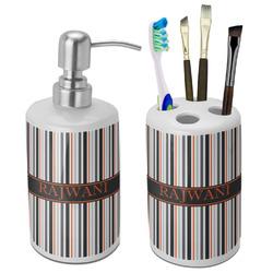 Gray Stripes Bathroom Accessories Set (Ceramic) (Personalized)