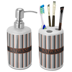 Gray Stripes Bathroom Accessories Set (Ceramic) (Personalized)