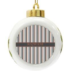 Gray Stripes Ceramic Ball Ornament (Personalized)