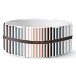 Gray Stripes Pet Bowl (Personalized)