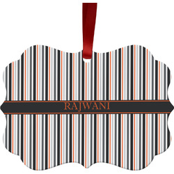 Gray Stripes Ornament (Personalized)