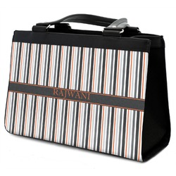 Gray Stripes Classic Tote Purse w/ Leather Trim w/ Name or Text