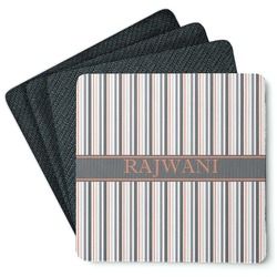 Gray Stripes 4 Square Coasters - Rubber Backed (Personalized)