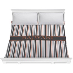 Gray Stripes Comforter - King (Personalized)