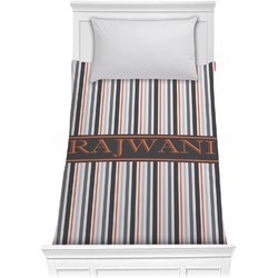 Gray Stripes Comforter - Twin (Personalized)