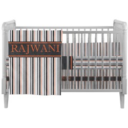 Gray Stripes Crib Comforter / Quilt (Personalized)