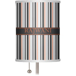 "Gray Stripes 7"" Drum Lamp Shade (Personalized)"