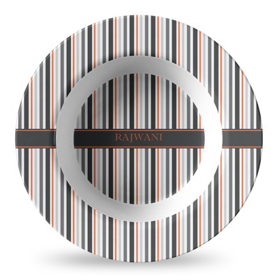 Gray Stripes Plastic Bowl - Microwave Safe - Composite Polymer (Personalized)