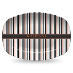 Gray Stripes Plastic Platter - Microwave & Oven Safe Composite Polymer (Personalized)
