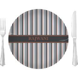 """Gray Stripes 10"""" Glass Lunch / Dinner Plates - Single or Set (Personalized)"""