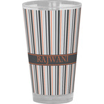 Gray Stripes Drinking / Pint Glass (Personalized)