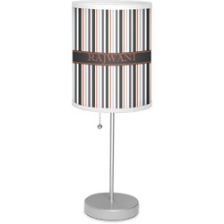"""Gray Stripes 7"""" Drum Lamp with Shade (Personalized)"""