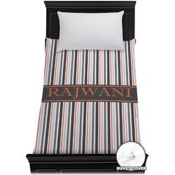 Gray Stripes Duvet Cover - Twin (Personalized)