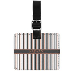 Gray Stripes Genuine Leather Rectangular  Luggage Tag (Personalized)