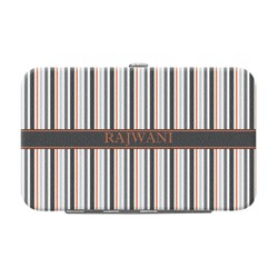 Gray Stripes Genuine Leather Small Framed Wallet (Personalized)