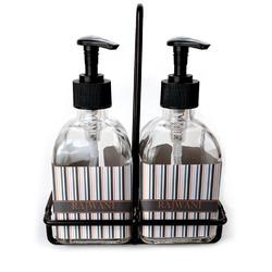 Gray Stripes Soap & Lotion Dispenser Set (Glass) (Personalized)
