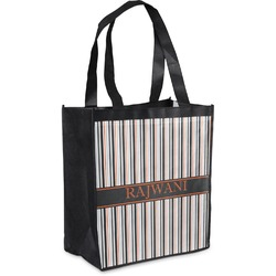 Gray Stripes Grocery Bag (Personalized)