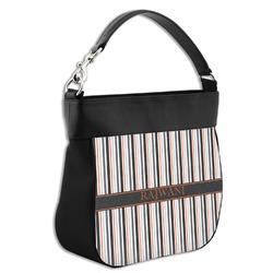 Gray Stripes Hobo Purse w/ Genuine Leather Trim (Personalized)