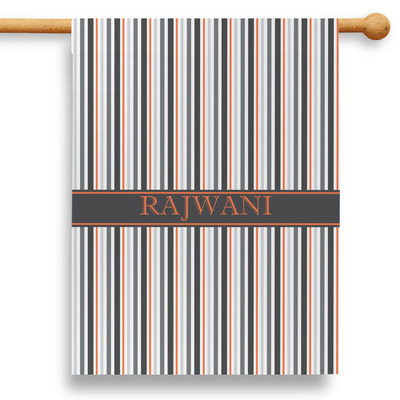 """Gray Stripes 28"""" House Flag (Personalized)"""
