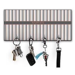 Gray Stripes Key Hanger w/ 4 Hooks w/ Name or Text