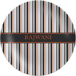 "Gray Stripes 8"" Melamine Appetizer / Dessert Plate (Personalized)"