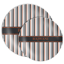 Gray Stripes Melamine Plate (Personalized)