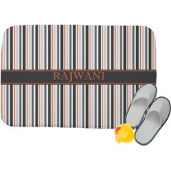Gray Stripes Memory Foam Bath Mat (Personalized)