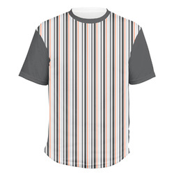 Gray Stripes Men's Crew T-Shirt (Personalized)