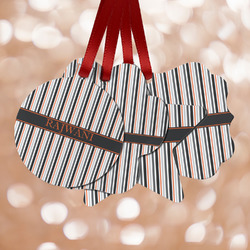 Gray Stripes Metal Ornaments - Double Sided w/ Name or Text