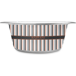 Gray Stripes Stainless Steel Pet Bowl (Personalized)