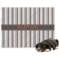 Gray Stripes Minky Dog Blanket (Personalized)