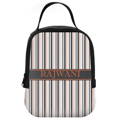 Gray Stripes Neoprene Lunch Tote (Personalized)